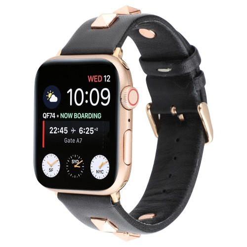 Genuine Leather Watchband with Rose Gold Fastener priekš Apple Watch Series 4 / 5 / 6 / SE (44mm) / Series 1/2/3 (42mm) - Melns - dabīgās ādas siksniņa priekš pulksteņiem ar saspraudi