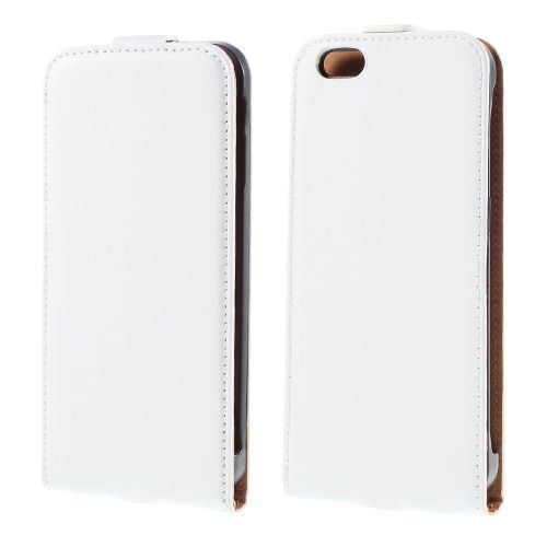 Genuine Split Leather Vertical Flip Cover priekš Apple iPhone 6s / 6 4.7-inch - Balts