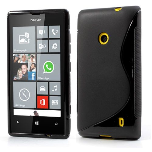 Melns S-Line Wave TPU Jelly Skin Cover for Nokia Lumia 520 / 525